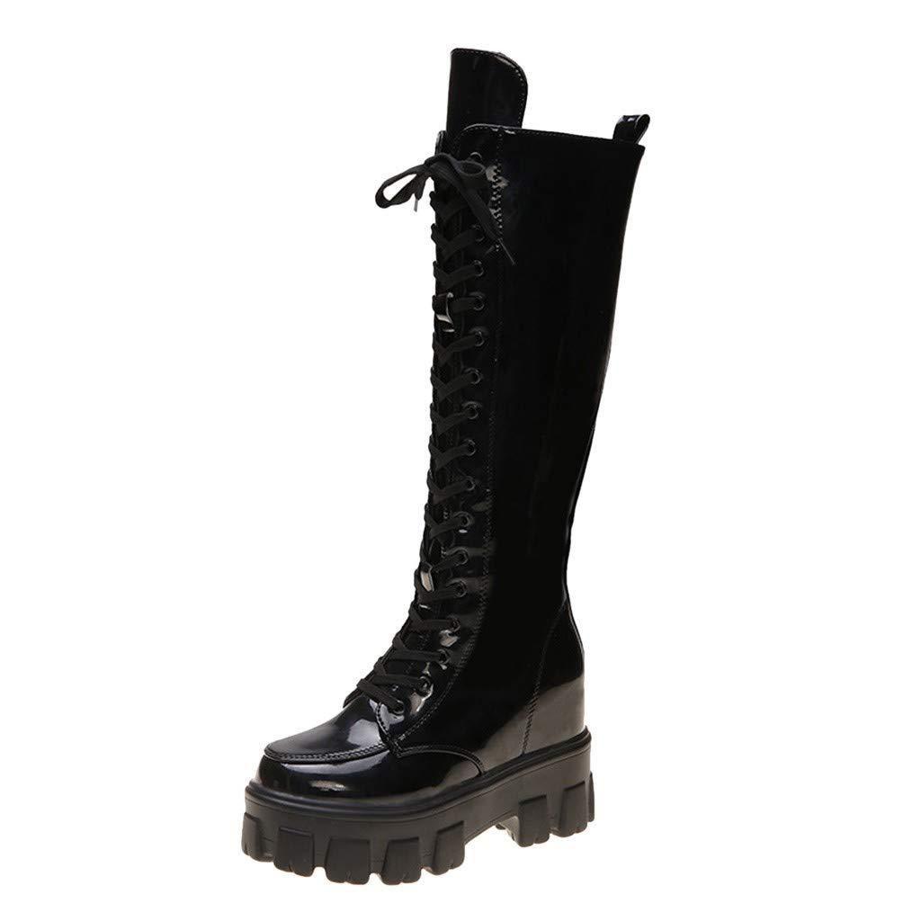 Fheaven Women's Fashion Platform Winter Zipper Heel Knee High Winter Boots Black by Fheaven-shoes
