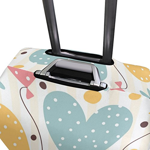 Cute Striped Birthday Love Heart Suitcase Luggage Cover Protector for Travel Kids Men Women by ALAZA (Image #3)
