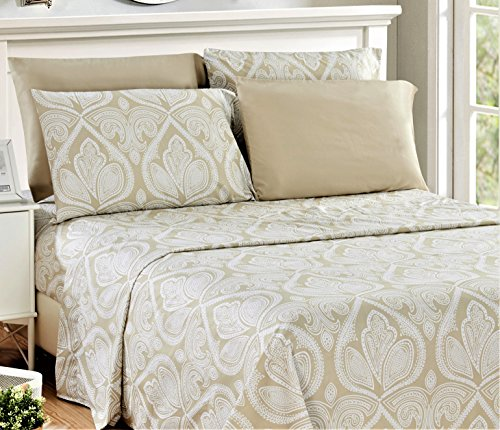 Lux Decor PAISLY Sheet Set Size 1800 Series Egyptian Quality Bed Sheet Set