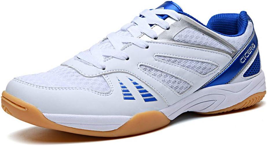 FJJLOVE Hombres Zapatos Tenis De Mesa, Bádminton Usable De Calzado Transpirable Zapatos Deportivos Ping-Pong De Las Zapatillas De Deporte De Interior Y Exterior Deportes,Blanco,38