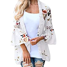 TIFENNY Sexy Lotus Sleeve Cardigan for Women Lace Floral Open Cape Casual Coat Blouse Kimono Jacket