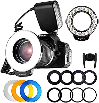 de60f8f8add FOSITAN 18 LED Macro Ring Flash Light for Nikon Canon Camera DSLR with LCD  Display Power Control 8 Adapter Rings 4 Light Diffuser for Nikon Canon and  Others ...