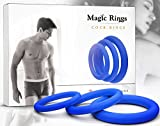 Penis Ring Set for Men - Adult Toys for Couples - Sex Enhancer Ring - Silicone Cock Rings for Longer Orgasm by Magic Rings - Blue