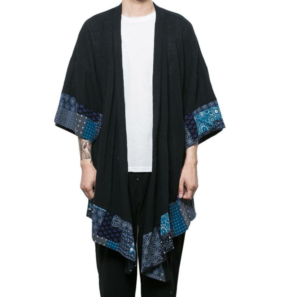 HZCX FASHION Men's Cotton Linen Blends Vintage Cloak Open Front Coat DSC229-F11-65-B-US L TAG XL Black by HZCX FASHION