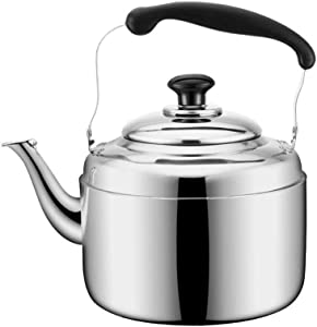 Food Grade Stainless Steel Cooker Teapot Whistle Silver Tea Kettle with Ergonomic Heat Resistant Handle Can Make Boil Milk Or Coffee (Size : 5L)