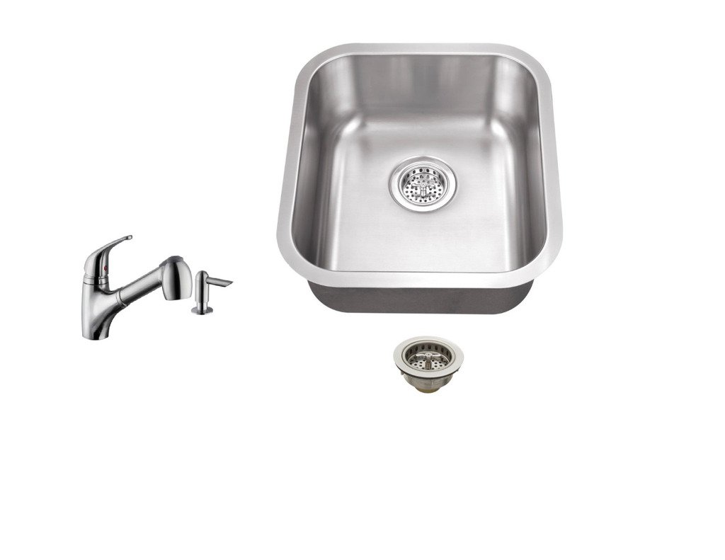 MSSBMP5828, 16.19-in x 18-in 18-Gauge Stainless Steel Single Bowl Bar Sink with Low Profile Pull Out Kitchen Faucet