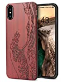 YFWOOD Compatible with iPhone X Wood Case, Unique Carving Wave Design Wood with Silicone Dual Layer Hybrid Anti-Scratch Shockproof Protective for iPhone X/XS Case