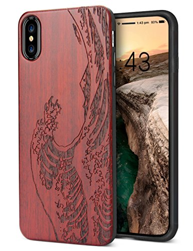 Wave Silicone (iPhone X Wooden Case, iPhone 10 Case,Unique Carving Wave Design Wood with Silicone Dual layer Hybrid Anti-Scratch Shockproof Protective Case for Apple iPhone 10)
