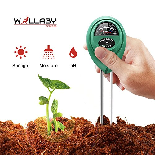 Digital Meter Moisture Soil (Soil Tester Kit- Soil Meter For Moisture, Light And PH For Indoor Outdoor Gardening, Farming, Lawn Plants And Herbs By Wallaby Express)