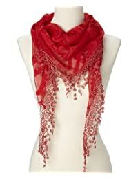 Women Lightweight Floral Triangle lace scarf for women (Red)