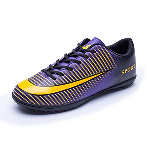 FCSHOES Indoor Turf Cleats Soccer Shoes Football Trainers Hard Ground Hook and Loop Breathable TF & AG Football Boots for Men Teenagers Junior Kids Youth Children,US10=Tag44=27cm,Purple