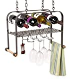Enclume Hanging Wine, Glass, and Accessories Rack, Hammered Steel