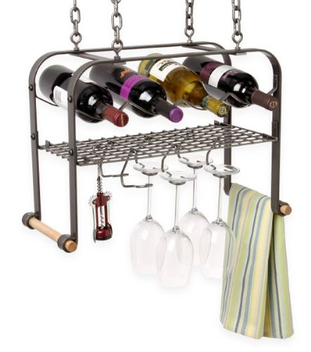 - Enclume Hanging Wine, Glass, and Accessories Rack, Hammered Steel