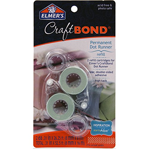 Elmer's E4011 CraftBond Permanent Dot Runner Refill, 26-1/4 Feet, 2 Refills per Pack, Clear