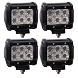 TURBO SII 4pcs Cree 4 Inch Flood Beam Led Work light 18W 1620LM Offroad Driving Lamps For Jeep JK Boat Truck Suv Utv 4WD 4X4