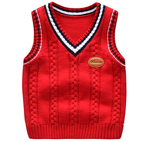 Baby Boy Argyle Sweater (Baby Toddler Boys Solid Color V Neck Sweater Vest Sleeveless Pullover Knitted Waistcoat red)