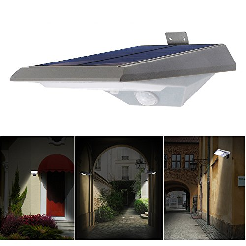Solar Powered Wall Step Street Lights Outdoor LED Lamp Sconces with Motion Sensor MOREFINE Wireless Exterior Detector Lantern Waterproof Security Lighting for Garden Barn Porch Patio Yard Garage Gift (Detector Lantern Motion With)