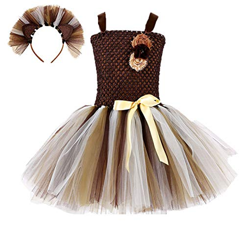 Colorfog Girls Kids Princess Christmas Deer Costume Dress Halloween Party Cosplay Fancy Dress (Little Lion,Medium) -