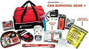 AutoClubHero Car Emergency Kit 185 Pieces - Premium Roadside Assistance Kit With Car Survival Gear - First Aid, Tire Repair, Jumper Cables, 12v Pump, Emergency Food, Water, Blanket and More