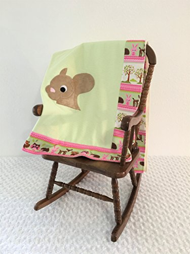 Small Green and Pink Squirrel Applique Blanket