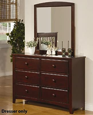Youth Pine Wood Dresser with Six Drawers in Brown Cherry Finish