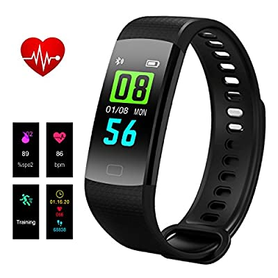 Fitness Tracker, Hizek Color Screen Activity Tracker with Heart Rate Monitor Wireless IP67 Waterproof Smart Wristand Pedometer Bracelet with Sleep Monitor/Step Counter/Calories Track/GPS Tracker
