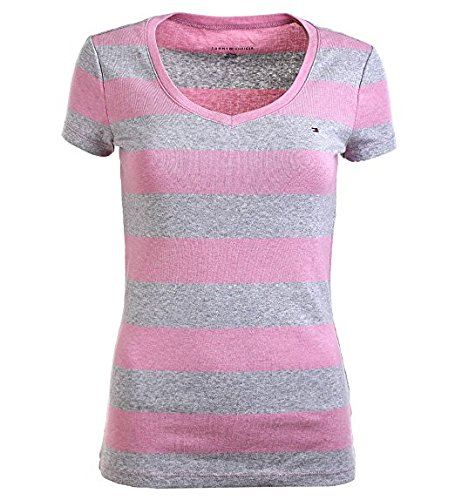 Tommy Hilfiger Women V-Neck Wide Stripes (XX-Large, Grey/Pink)