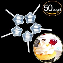 EKIND Plastic Squeeze Transfer Pipettes Suitable for Chocolate, Cupcakes, Strawberries, Ice Cream, Cakes, Children's Painting, Kitchen (Star, 4ml, Pack of 50)