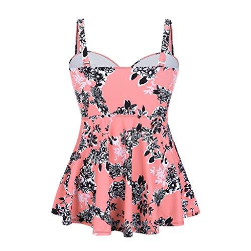 (Kitt Fashion Plus Size Swimsuit Women Tummy Bandage Two Piece Print Swimwear Padded Push Up Swimsuits (Pink, XL))