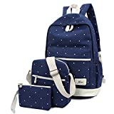 QincLing 3pcs/set Dotted Canvas School Backpack Leisure School Bookbag for Girls
