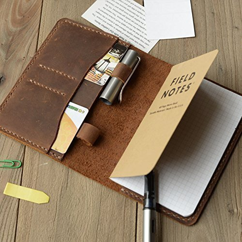 Leather Journal Cover for Moleskine Cahier Notebook Pocket size with pen holder 3.5'' x 5.5'' Field Notes Cover Vintage Refillable