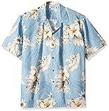 Pacific Legend Tropical Floral Hibiscus and Plumeria Hawaiian Shirt (XL, Blue)