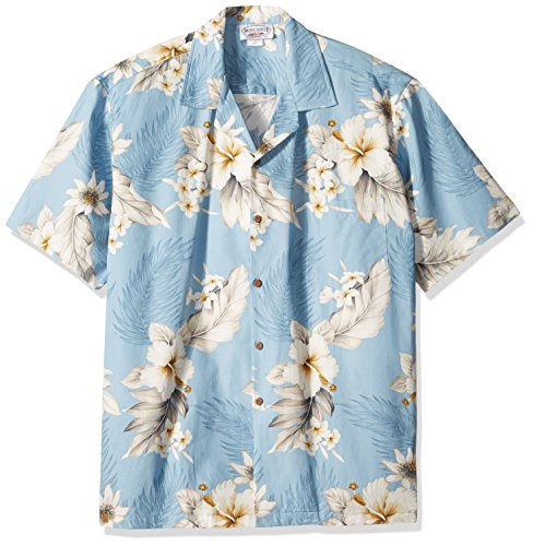 (Pacific Legend Tropical Floral Hibiscus and Plumeria Hawaiian Shirt (XL, Blue))