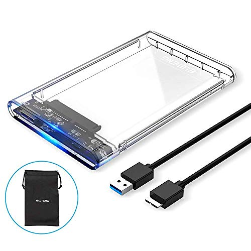 ELUTENG SSD External Hard Drive Enclosure 2.5 inch SATA to USB3.0 UASP Clear Portable Hard Drive Case Max 2T HDD Tool-Free Transparent Compatible for Windows (Convert Internal Hard Disk To External Usb)