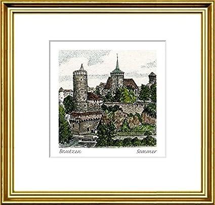 Amazon.com: Hand-colored hand-crafted etching Bautzen, Blick von der ...