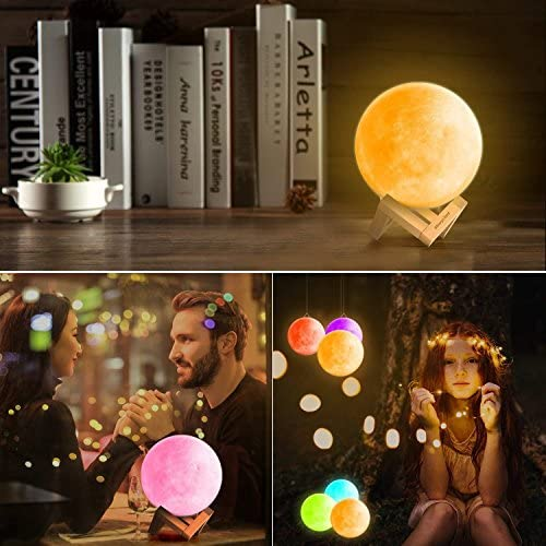 LKsmart Moon Lamp 5915cm Diameters 3D Printed Light Touch Control Stepless Dimmable Warm White  Cool