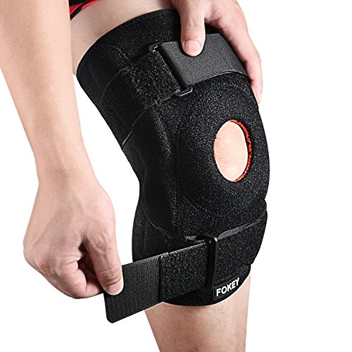 FOKEY Knee Brace, Knee Sleeve : Compression Knee Support Strap, Open Patella Protector Wrap for Pain Relief, Arthritis, ACL, Sports and Injury Recovery, Breathable Neoprene Sleeve Single – Black+Red