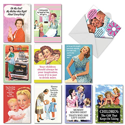 Memories of Motherhood': Assorted Box of 10 Funny Mother's Day Cards With retro images of mom and kids, with Envelopes (10 Designs, 1 Card Per Design) AC6783MDG-B1x10 ()