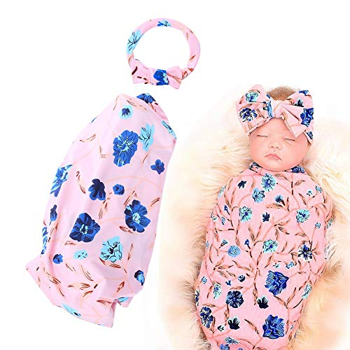 2Pcs Infant Swaddle Receiving Blanket with Headband Set Carnation Floral Pattern Printing Baby Swaddle Wrap(#1)
