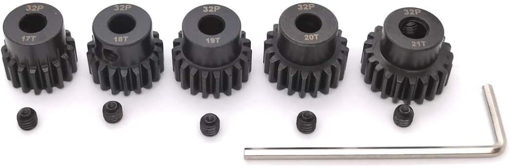 MakerDoIt 32P 5mm Pinion Gear Set 17T 18T 19T 20T 21T with Hex Key for RC 51B0hrnKUBL