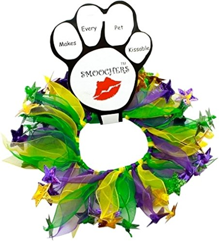 Mirage Pets Mardi Gras Smoocher for Pets - Yellow, Green, Purple - Size Extra Large