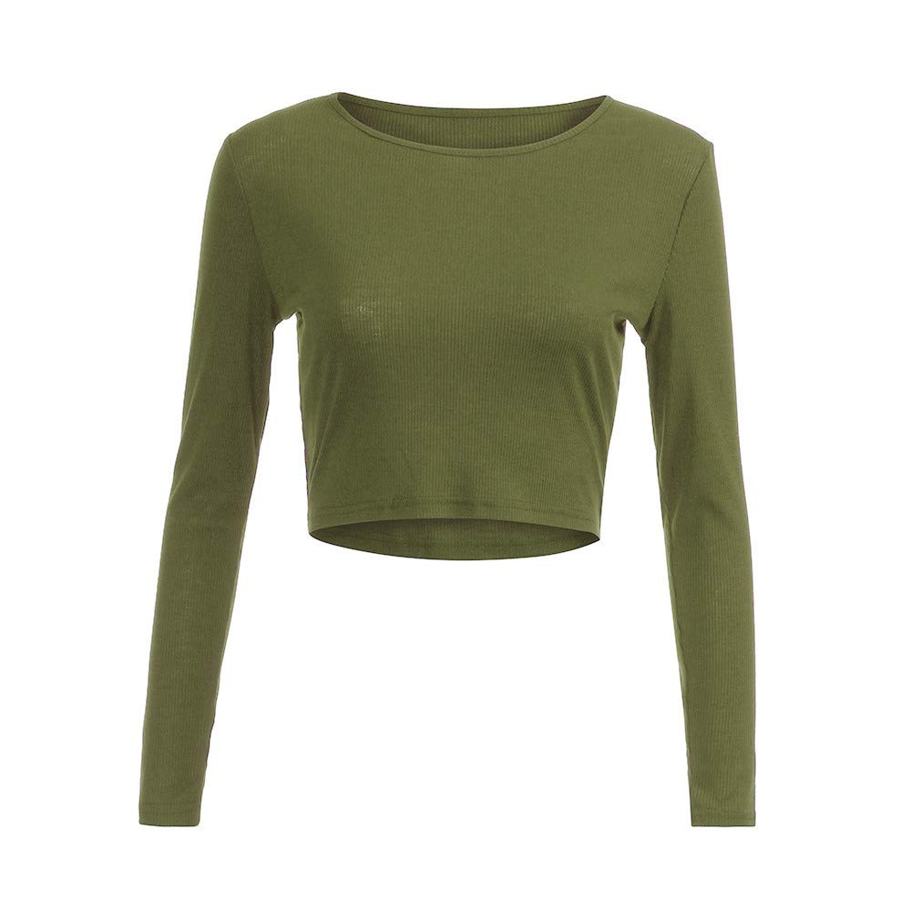 Womens Work Tops, Fashion Women Long Sleeve O-Neck Tight Elastic T-Shirt Blouses Crop Tops (Army Green, M)