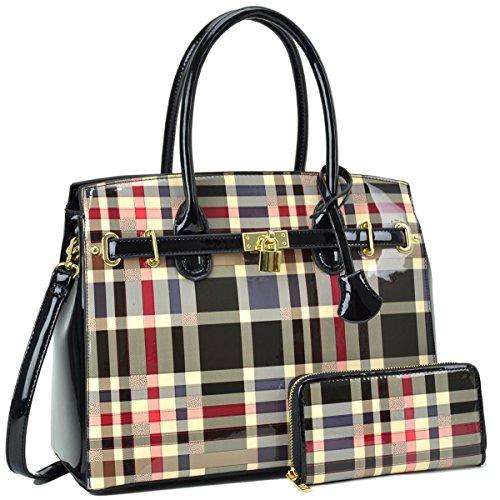 Dasein Women's Handbags Padlock Satchel Bags Top Handle Purses Shoulder Bags