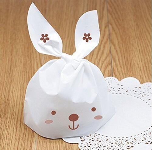 Yunko 50 PCS Cute Rabbit OPP Cookie Bakery Candy Biscuit Tre