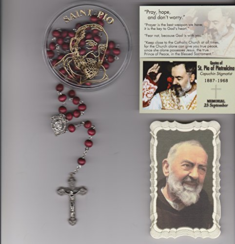(Saint Padre Pio Rose Scented Rosary with Case, 2 Holy Cards and Mysteries Pamphlet)