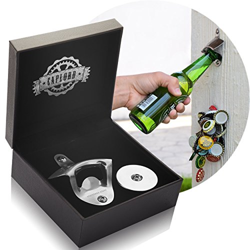 Bottle Opener Wall Mount with Magnetic Cap Catcher - Stainless Steel - by CAPLORD, Wall Mounted Beer Bottle Opener - Drinking Game Fun to Use at Every Party! (Gifts For Men Who Love Beer)