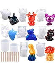 EuTengHao 20Pcs 3D Animal Resin Molds Tools Set Includes 8 Resin Casting Molds Large Clear Unicorn Epoxy Silicone Molds 2 Measurement Cup 10 Wood Sticks for Resin Craft DIY