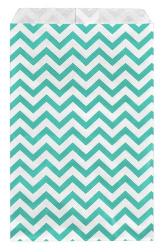 200 pcs Turquoise Chevron Paper Gift Bags Shopping Sales Tote Bags 6