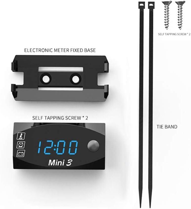 Kkmoon Dc 6v 30v 3 In 1 Auto Digital Voltmeter Zeitschaltuhr Thermometer Spannungsprüfer Ip67 Wasserdichter Led Display Messgerät Für Auto Motorrad Boot Blau Auto