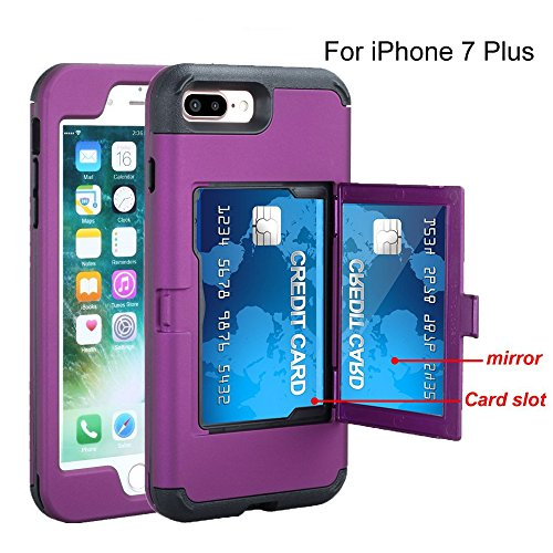 Power Slot Plus (iPhone 7 Plus case, TOPBIN [Cosmetic Mirror] & [1 Card Slots] Hard PC+ Soft Silicone [3 in 1] Anti-Scratch Hybrid Full-Body Dual Protective Case for Apple iPhone 7 Plus/8 Plus (Purple))